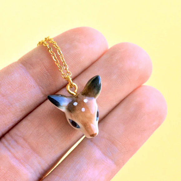 Fawn Head Necklace