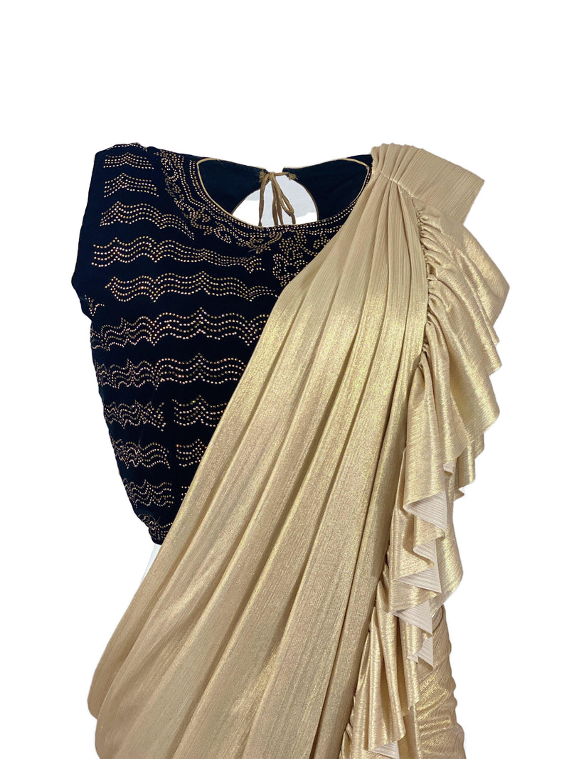 CREME BRULEE STITCHED SAREE - Leharr Collection