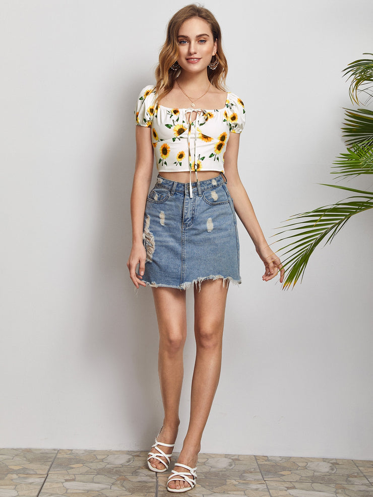Sunflower Puff Sleeve Top