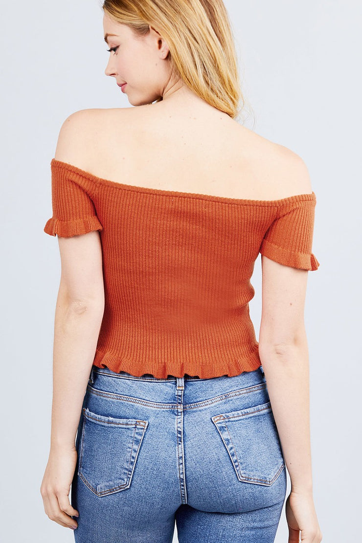 Short Sleeve Off The Shoulder W/ruffle Detail Sweater Top