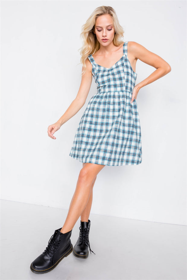 Plaid Back Bow Dress