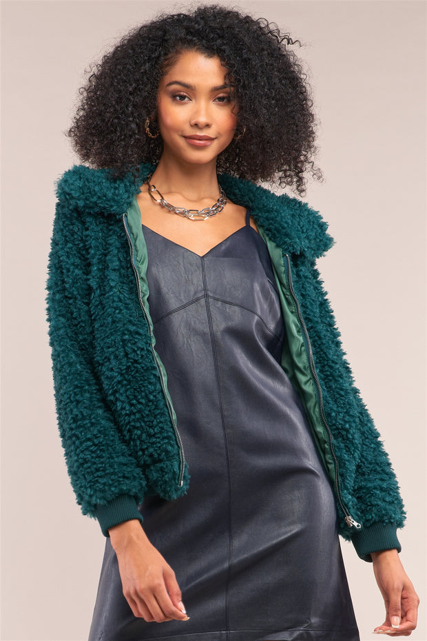 Hunter Green Long Sleeve Faux Fur Bomber Jacket