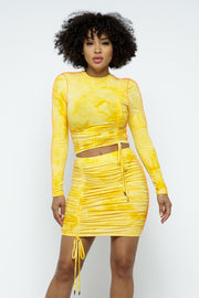 Tie Dyed Mock Neck Long-sleeve Cropped Top And Mini Skirt Set