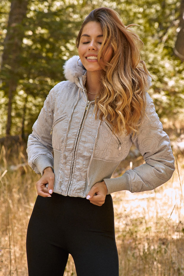 Faux Fur Cropped Bomber Jacket