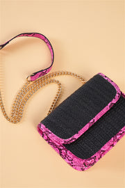 Pink Python Shoulder Bag