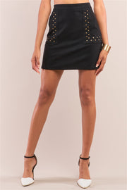 Faux Suede Studded Mini Skirt