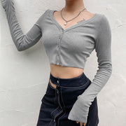 Long Sleeve V Neck Crop Top