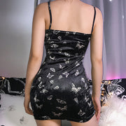 Black Velvet Butterfly Mini Dress