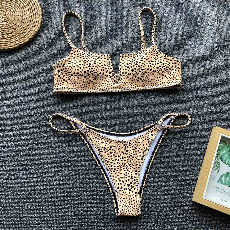 Cheetah Print Two Piece Bikini