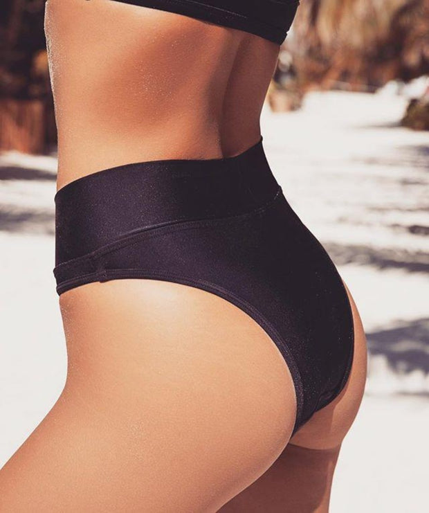 High Waisted Black Bikini Bottoms