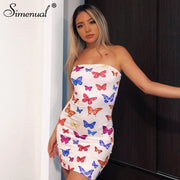 Strapless Butterfly Mini Dress