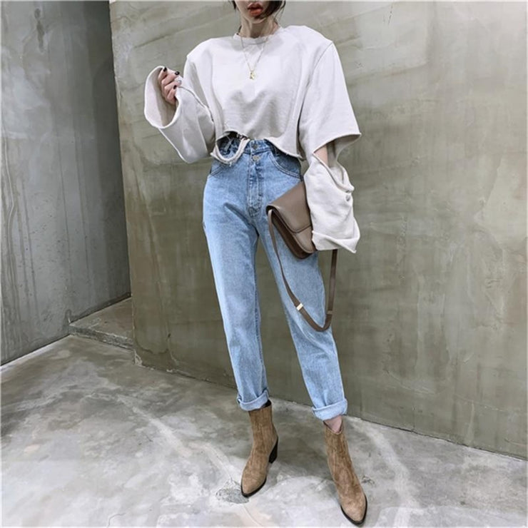 Vintage High Waisted Straight Jeans