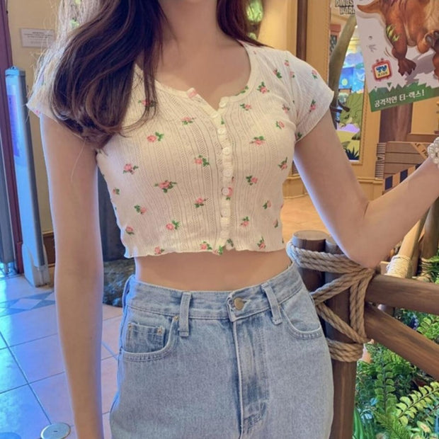 Floral Button-up Crop Top