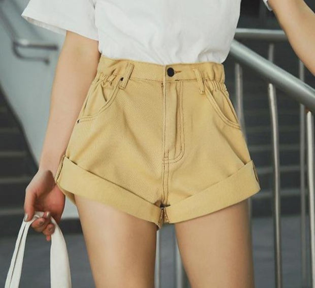 High Waisted Vintage Cuffed Denim Shorts