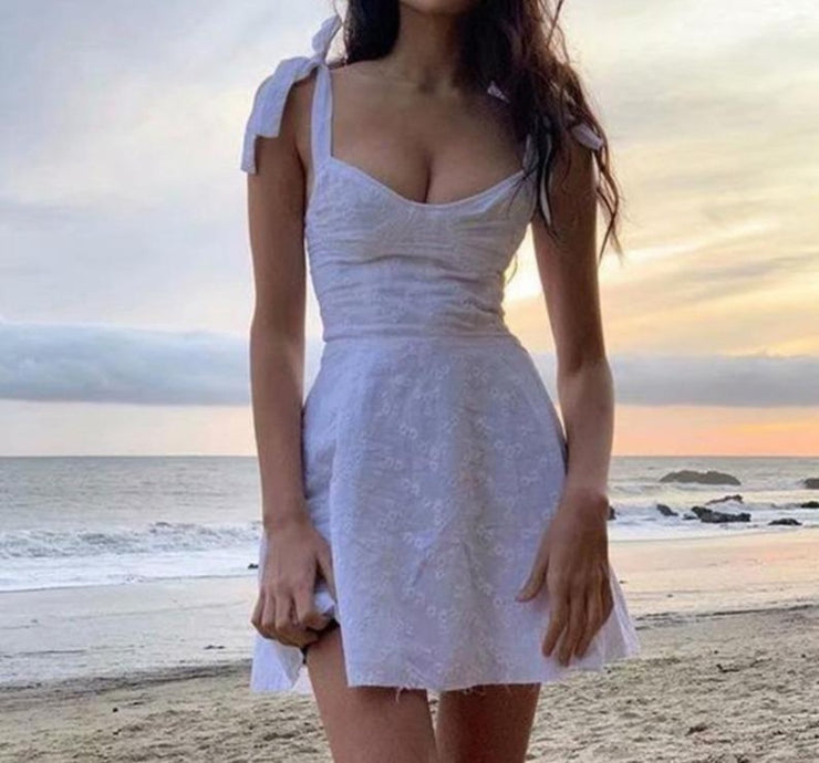 Lace Tie Strap Mini Dress