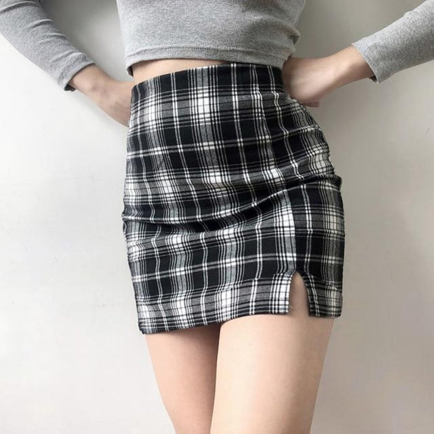 Side-Slit Plaid Mini Skirt