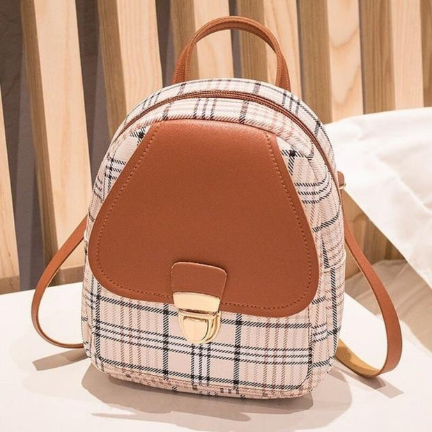 Plaid Mini Crossbody Backpack