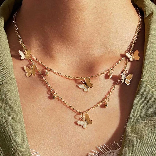 Double-Layer Butterfly Necklace