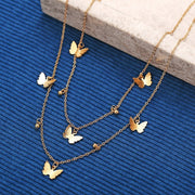 Double-Layer Butterfly Pendant Necklace