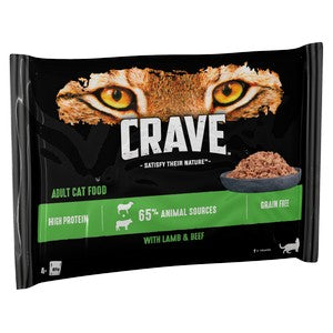 Crave Cat Pouch with Lamb & Beef in Loaf 4x85g