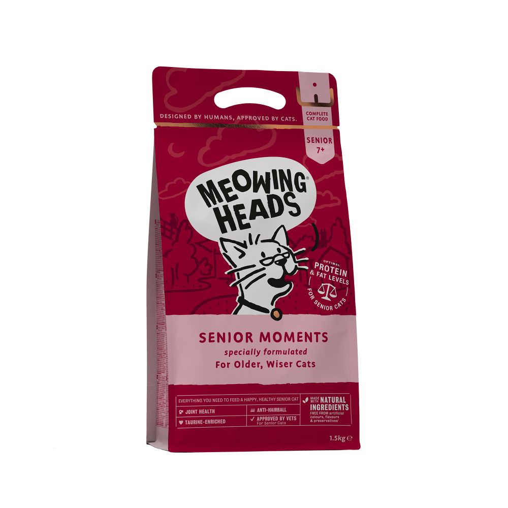 Meowing Heads Senior Moments Dry Cat Food - 1.5kg