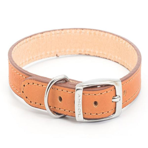 Heritage Leather Sewn/Half Lined Tan Collar 40cm