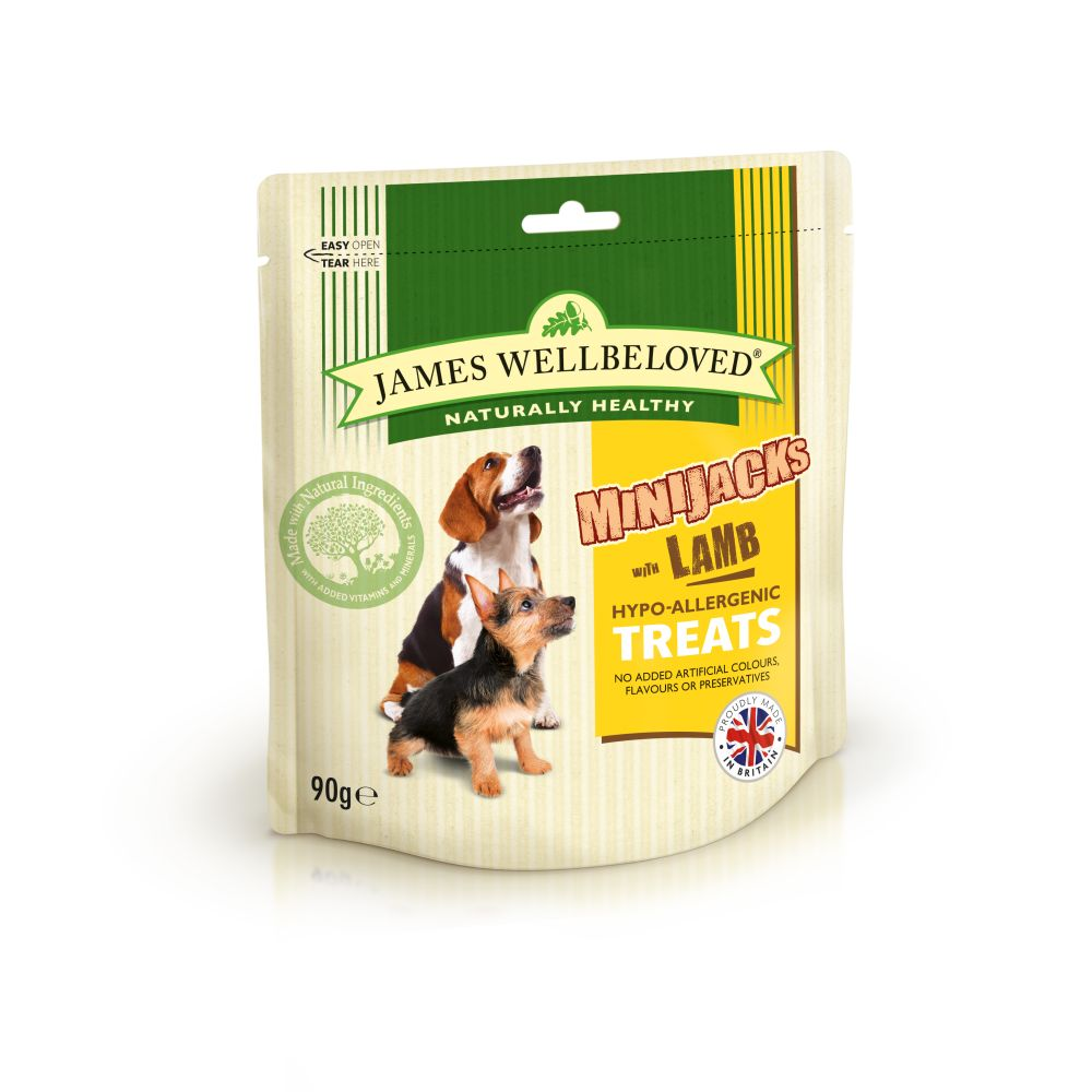 James Wellbeloved Lamb Mini Jacks Dog Treats - 90g