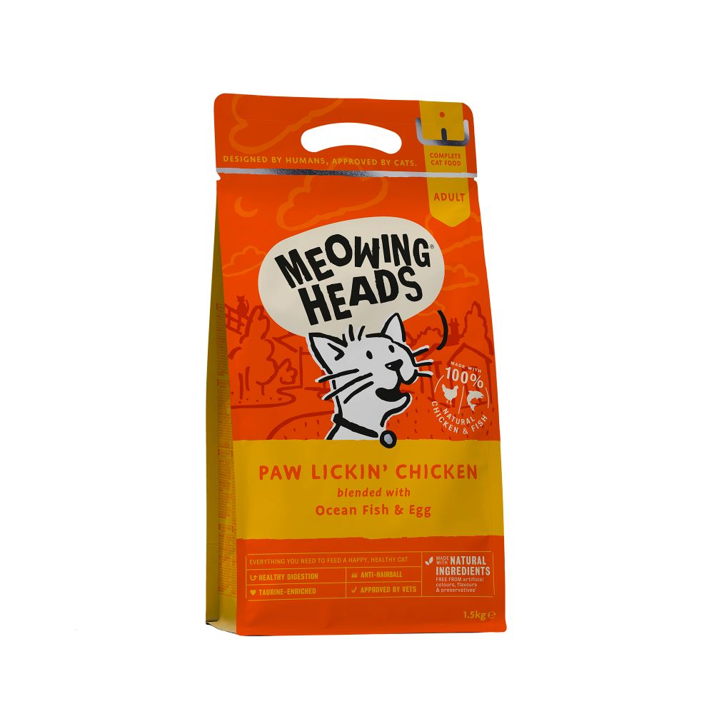 Meowing Heads Paw Lickin Chicken Cat Food - 1.5kg