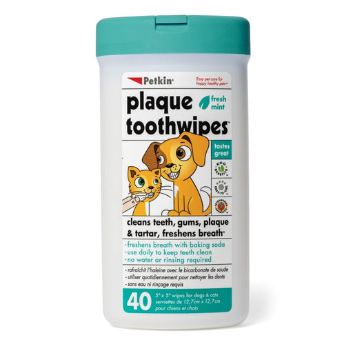Petkin Plaque Toothwipes For Dogs & Cats  40 Wipes