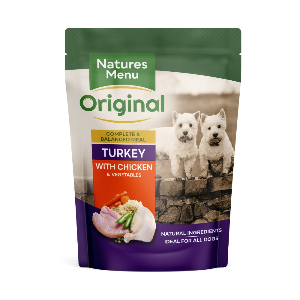 Natures Menu Turkey with Chicken Dog Food Pouches 300g