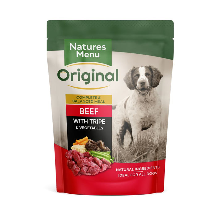 Natures Menu Beef with Tripe Dog Food Pouches 300g