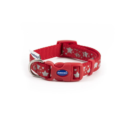 Ancol Reflective Adjustable Collar - Star Red