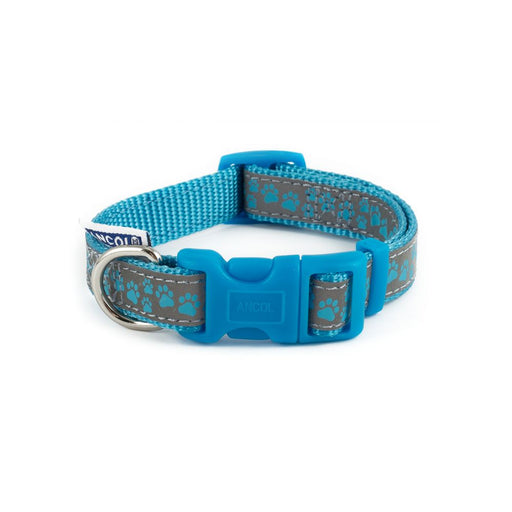 Ancol Reflective Collar - Paw Blue
