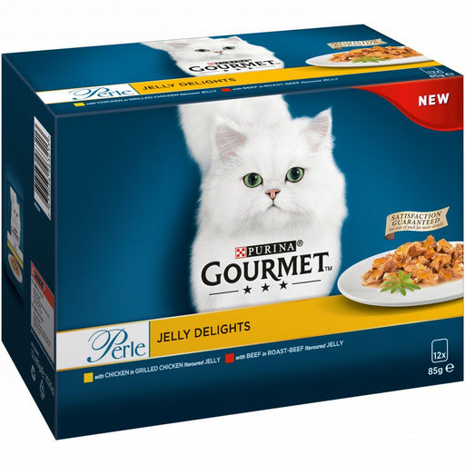 Gourmet Perle Jelly Delights Chicken Wet Cat Food Pouches - 12 x 85g