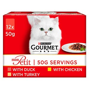 Gourmet Mon Petit Mixed Meat Adult Cat Food Pouches 12x50g