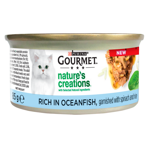 Gourmet Natures Creations Cat Food Ocean Fish with Rice & Spinach 12x85g