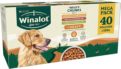 Winalot Meaty Chunks in Gravy Adult Wet Dog Food Pouches - 40 x 100g