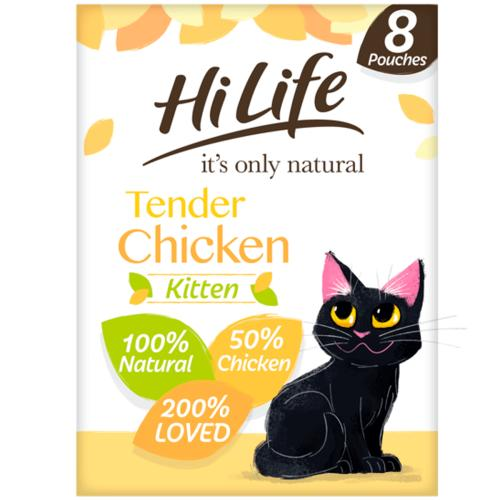 HiLife It's Only Natural Tender Chicken Kitten Food Pouches - 8 x 70g