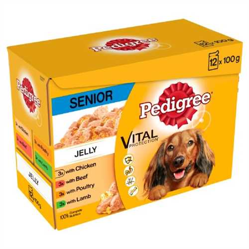 Pedigree Senior Chunks in Jelly Dog Pouches 12 Pack 100g