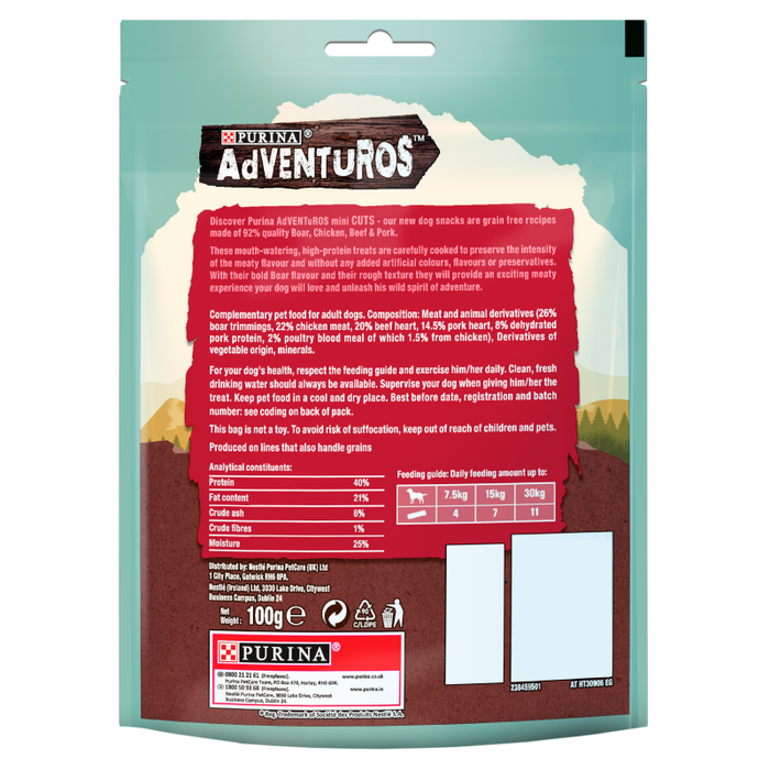 Adventuros Mini Cuts Wild Boar Dog Treats - 100g 4