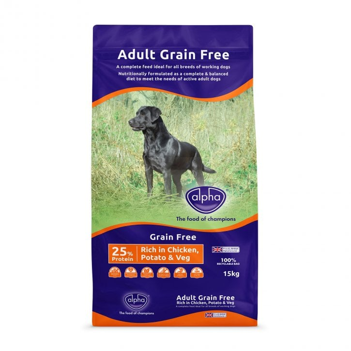 Alpha Grain Free Chicken Dry Dog Food 15kg - 25% Protein