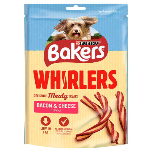 Bakers Bacon & Cheese Whirlers Dog Treats - 175g