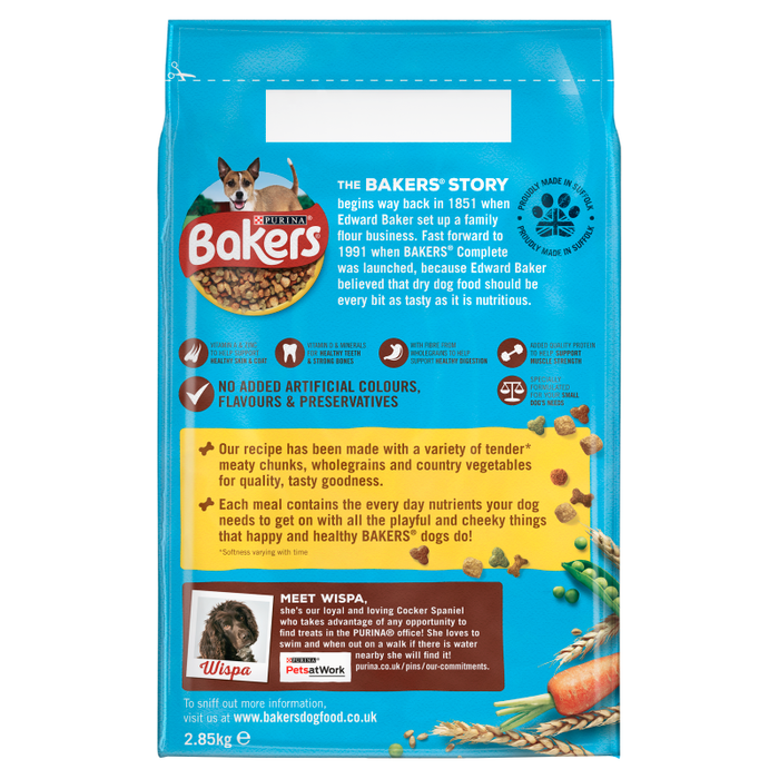 Bakers Small Dog Chicken & Vegetables Dry Dog Food 2.85kg - 3