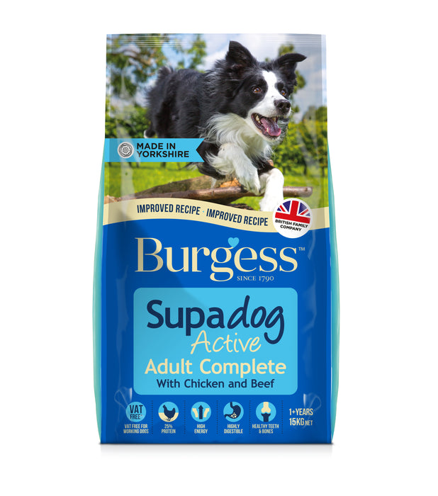 Burgess Active with British Chicken & Beef Dry Dog Food - 15kg