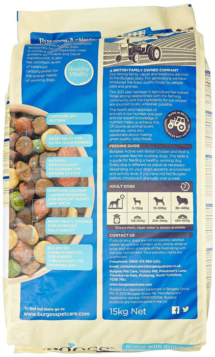 Burgess Active with British Chicken & Beef Dry Dog Food - 15kg - 1