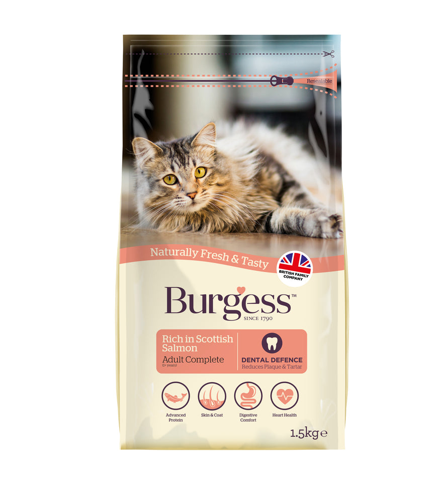 Burgess Adult Rich In Scottish Salmon Dry Cat Food - 1.5kg