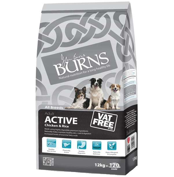 Burns Active Dry Dog Food - 12kg