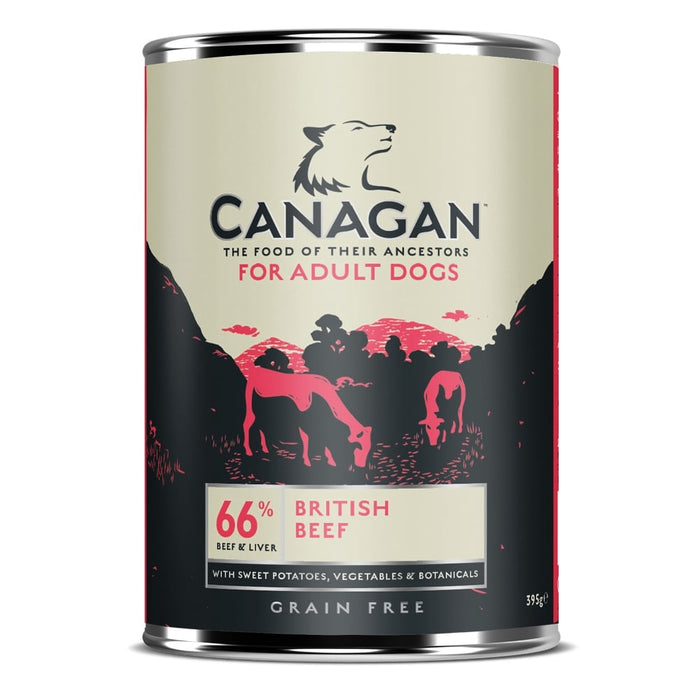 Canagan Grain Free British Braised Beef Dog Cans 6 Pack - 400g