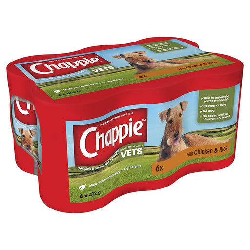 Chappie Chicken & Rice Wet Dog Food Cans 6 x 412g