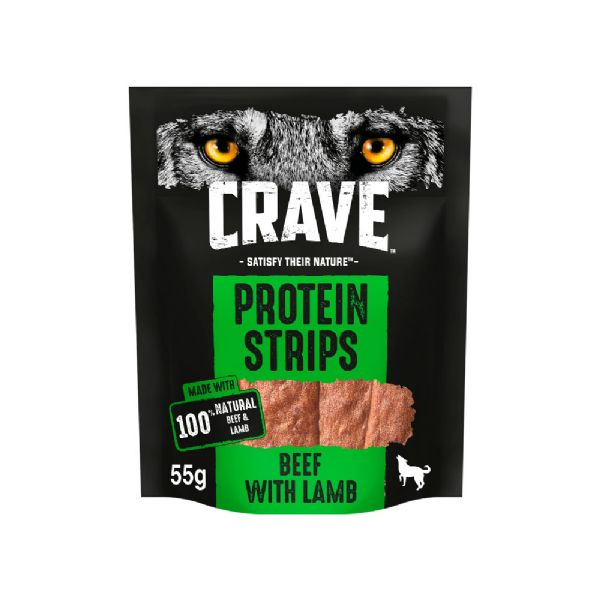 Crave Protein Strips With Beef & Lamb Dog Treats - 55g